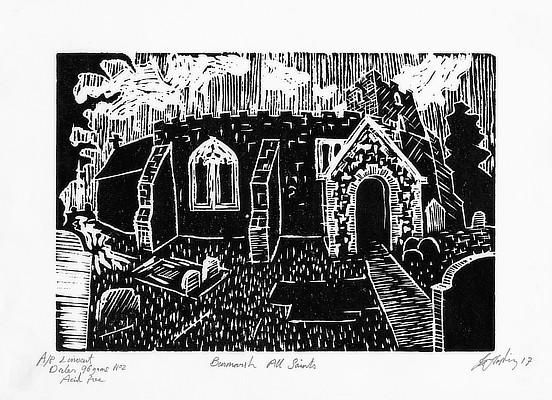 linocut of a church in Romney Marsh area