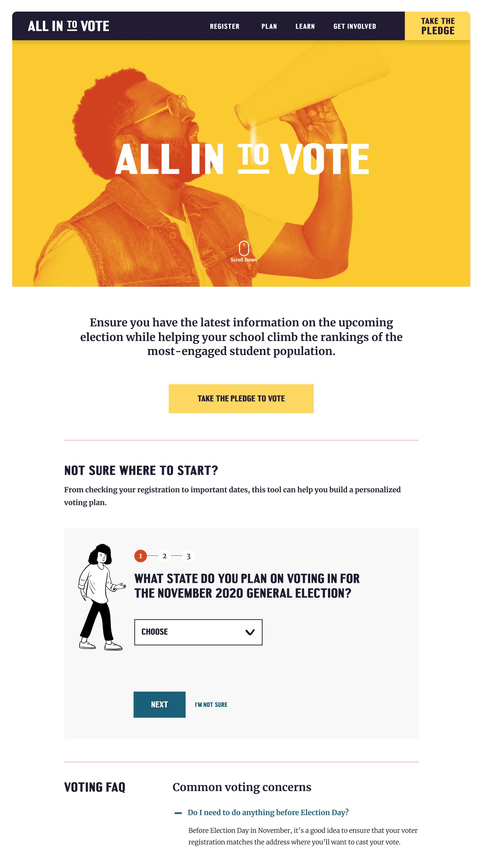 All in to vote website screenshots