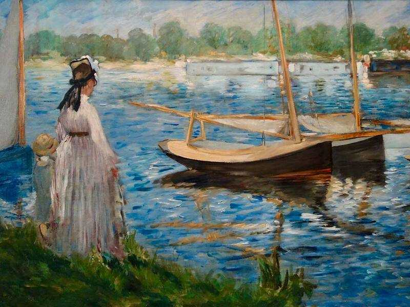 Manet painted with Monet at Monet's house in Argenteuil in 1874. This work, the Seine at Argenteuil, closely resembles Monet's output.