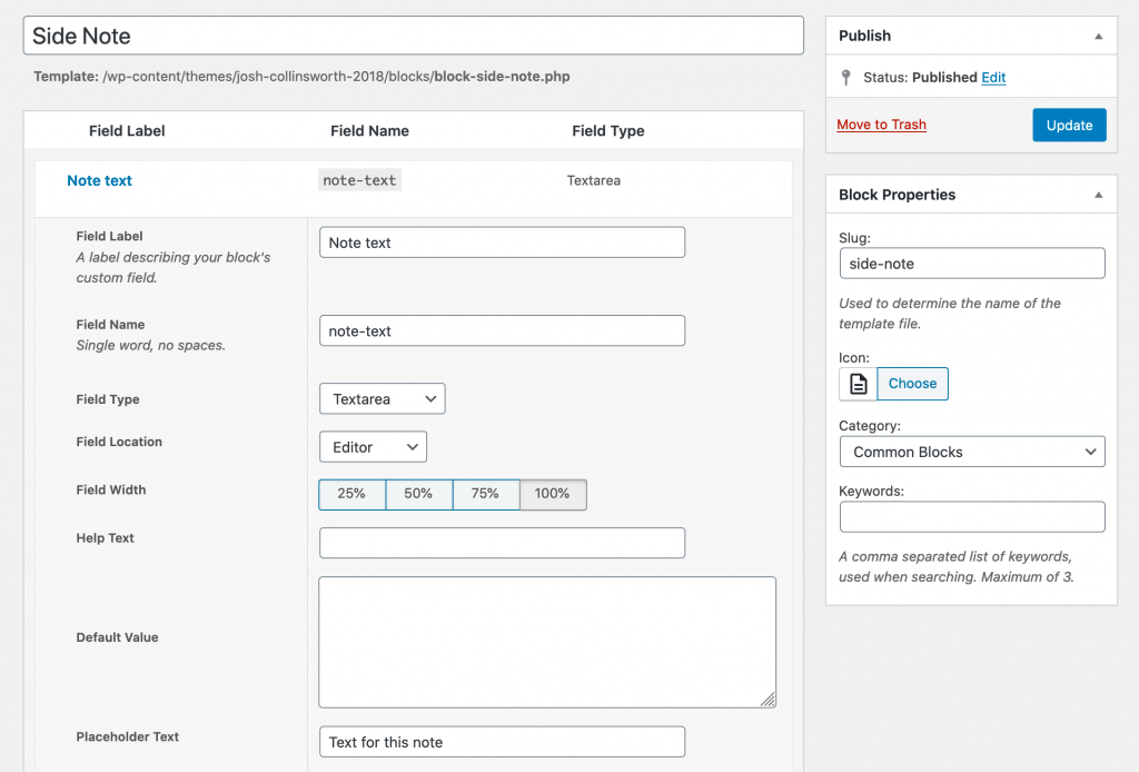 """The config options for my example """"Side Note"""" block from this site; as a textarea field type with field location set to """"Editor."""""""