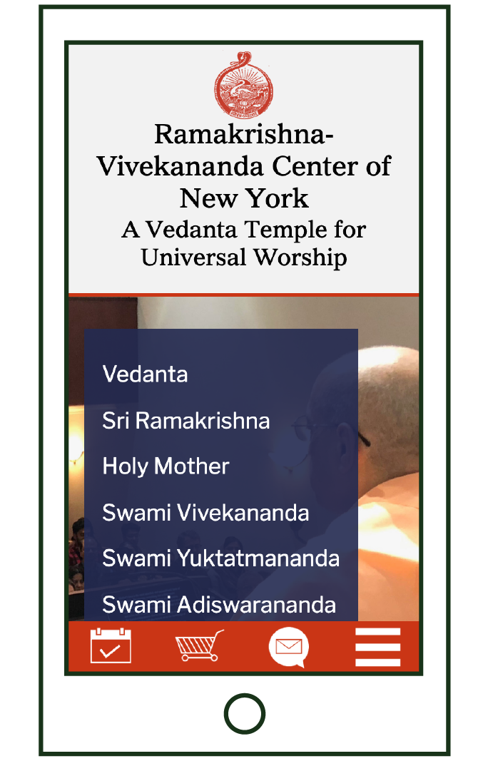 mobile layout of teachings navigation page, links to inner pages on blue transparent square, on photo of Swami Yuktatmanda preaching
