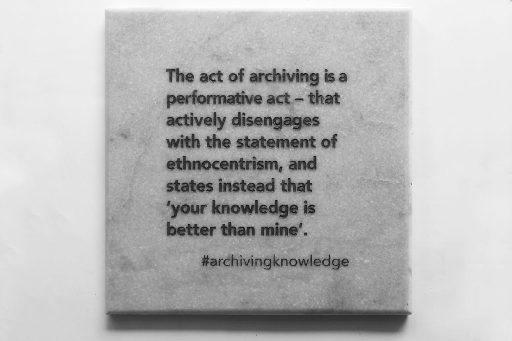 The act of archiving is a performative act – that actively disengages with the statement of ethnocentrism, and states instead that 'your knowledge is better than mine', From the series: Archiving Knowledge, hand engraved marble, 2018