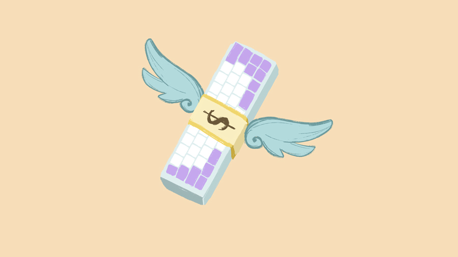 A keyboard with wings, emulating the money with wings emoji.