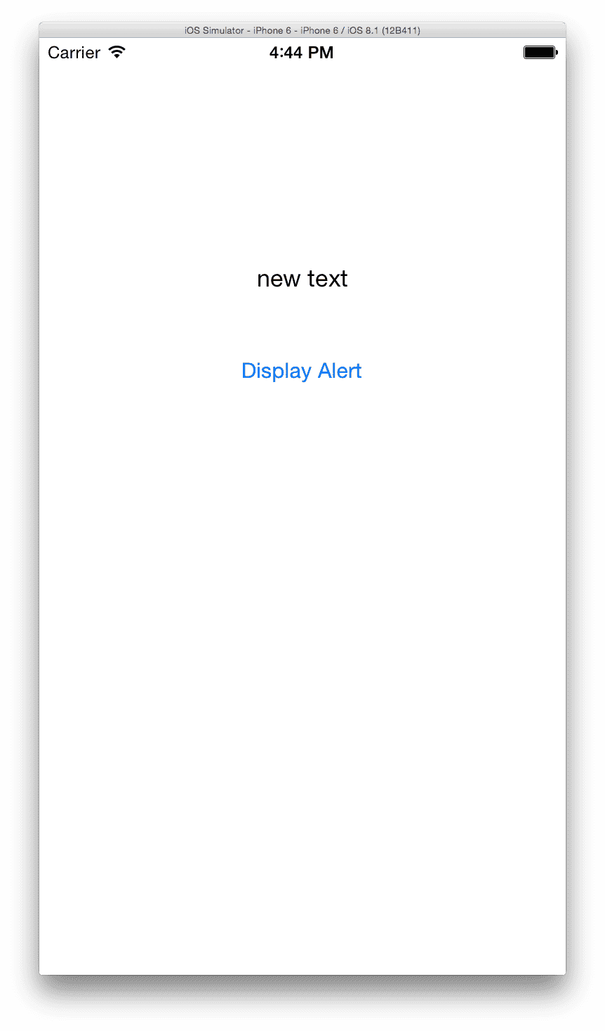05 - iOS Simulator displaying text entered from alert