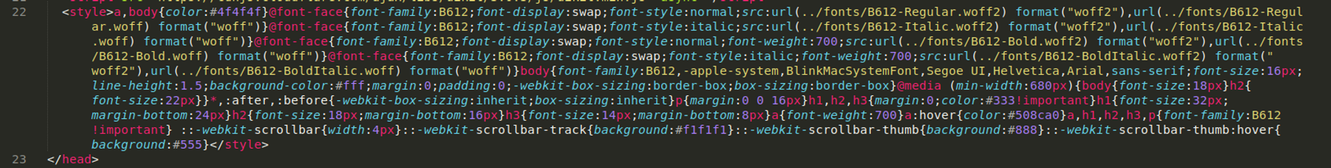 Minified CSS in head