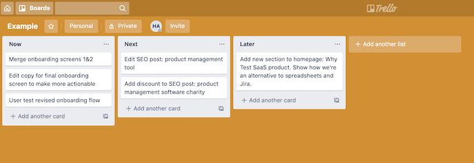 screenshot of an example Trello board