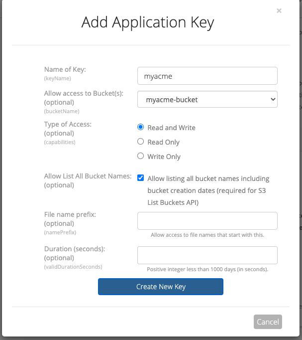 Add new Application Key
