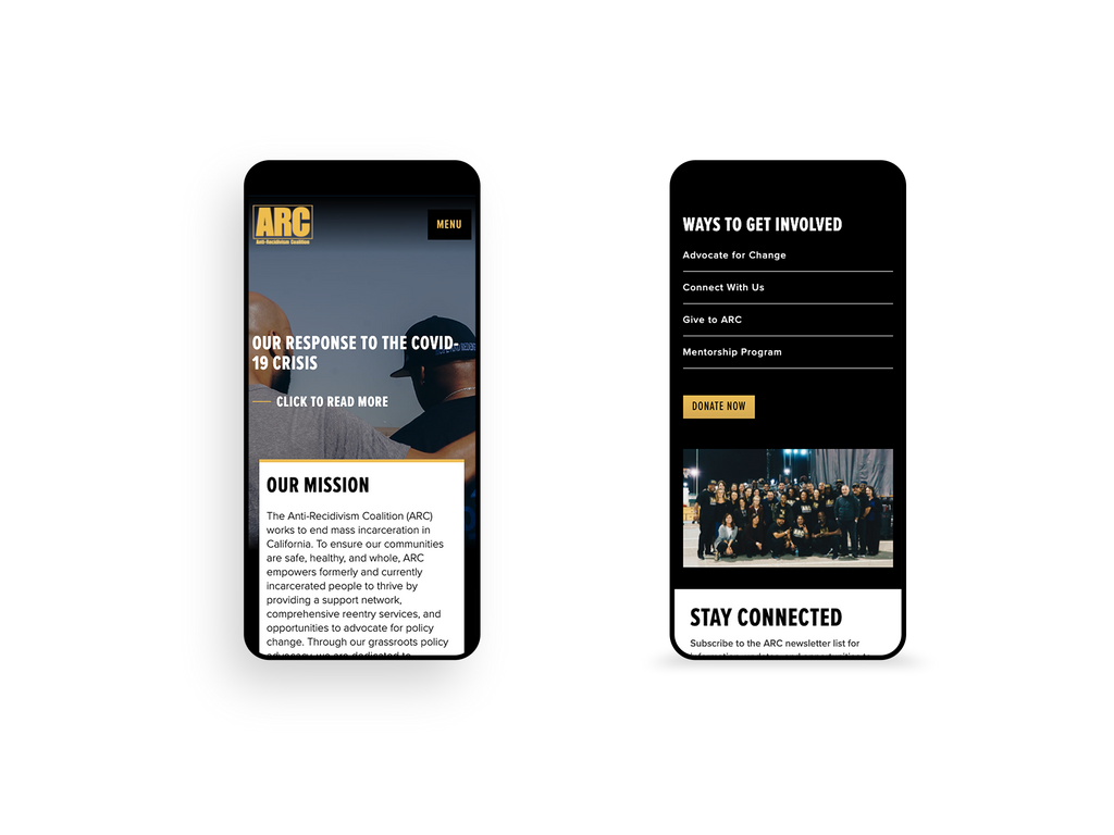 ARC Mobile screenshot of homepage components