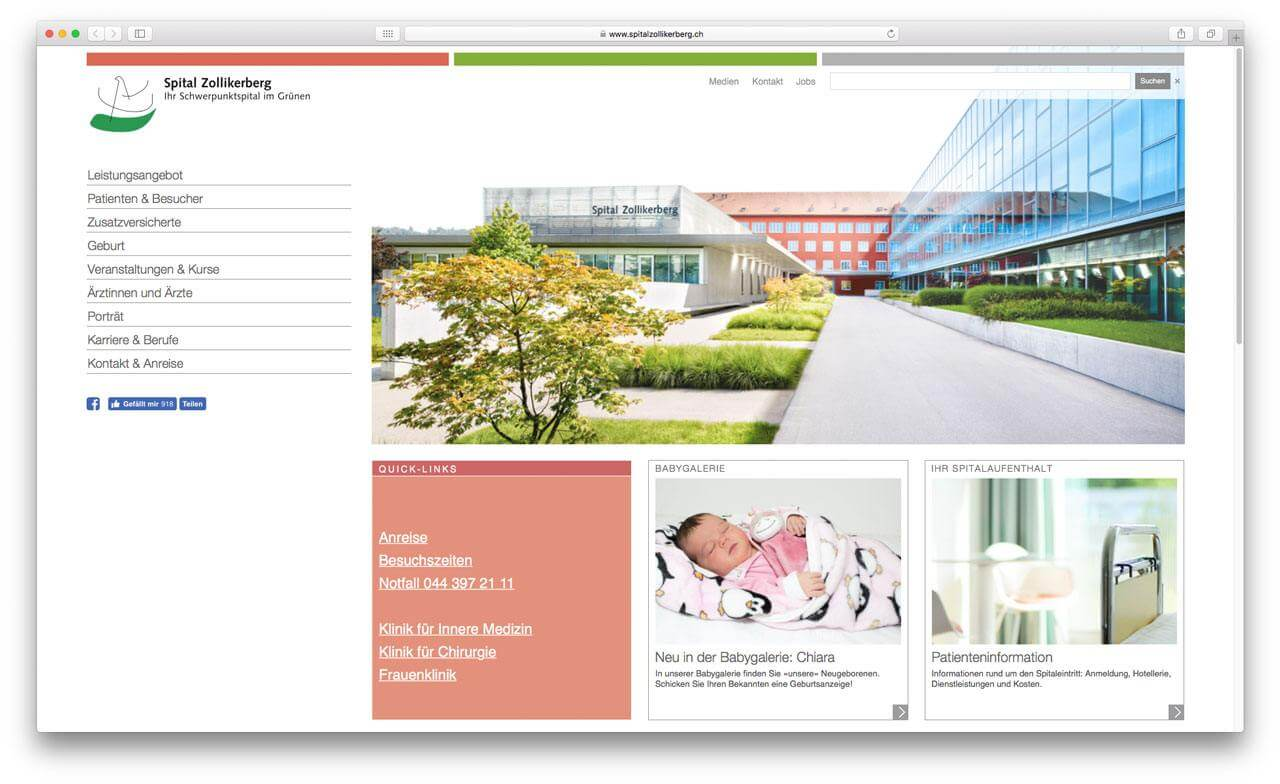 Spital Zollikerberg Enterprise CMS Screenshot