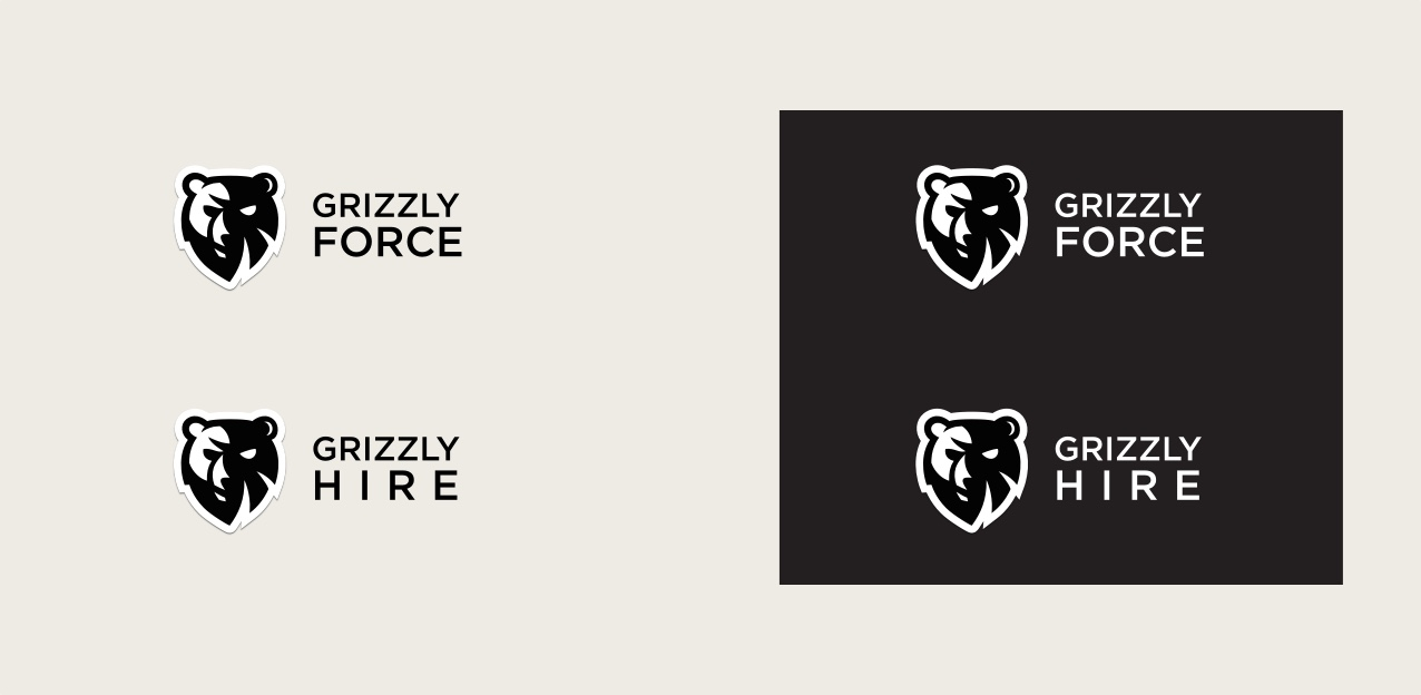 Grizzly Force and Grizzly Hire logos
