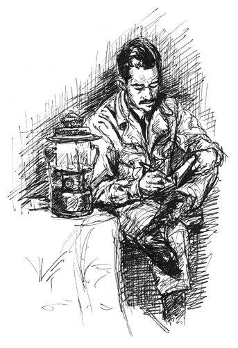 Man Writing Sketch
