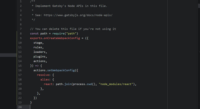 Atom console with Gatsby JS Node Wepack code