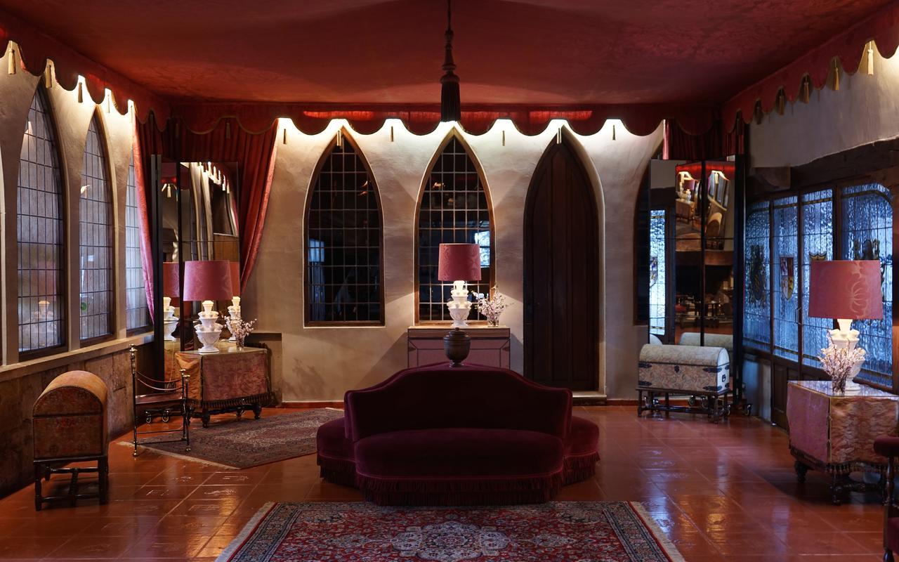 velvet couch in hotel lobby at hotel landa in burgos, spain