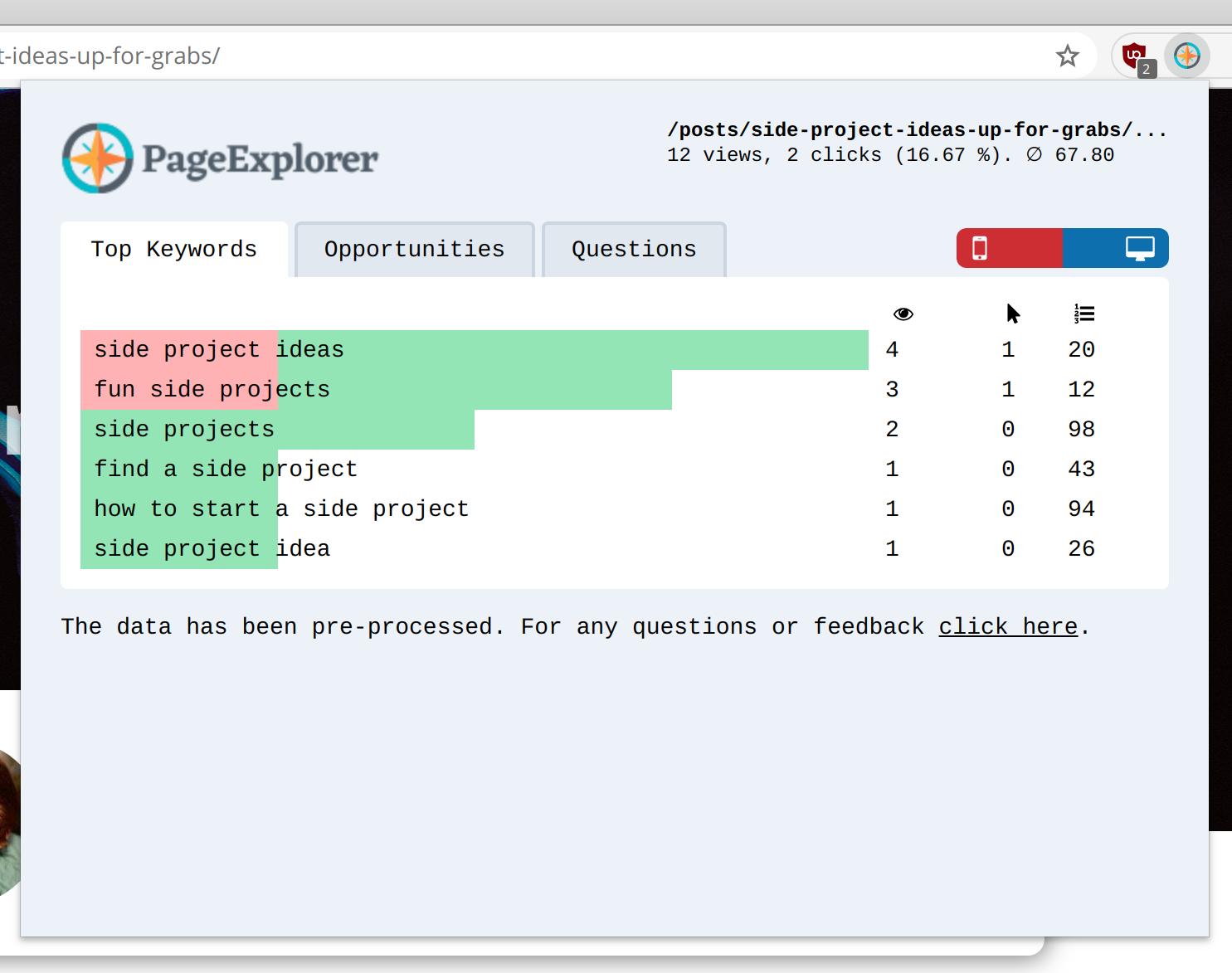 Screenshot of PageExplorer Chrome Extension