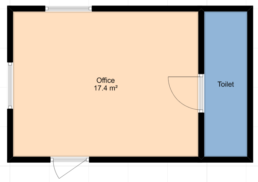 A basic floor plan with a good size office area and then a small toilet/bathroom area to the right.