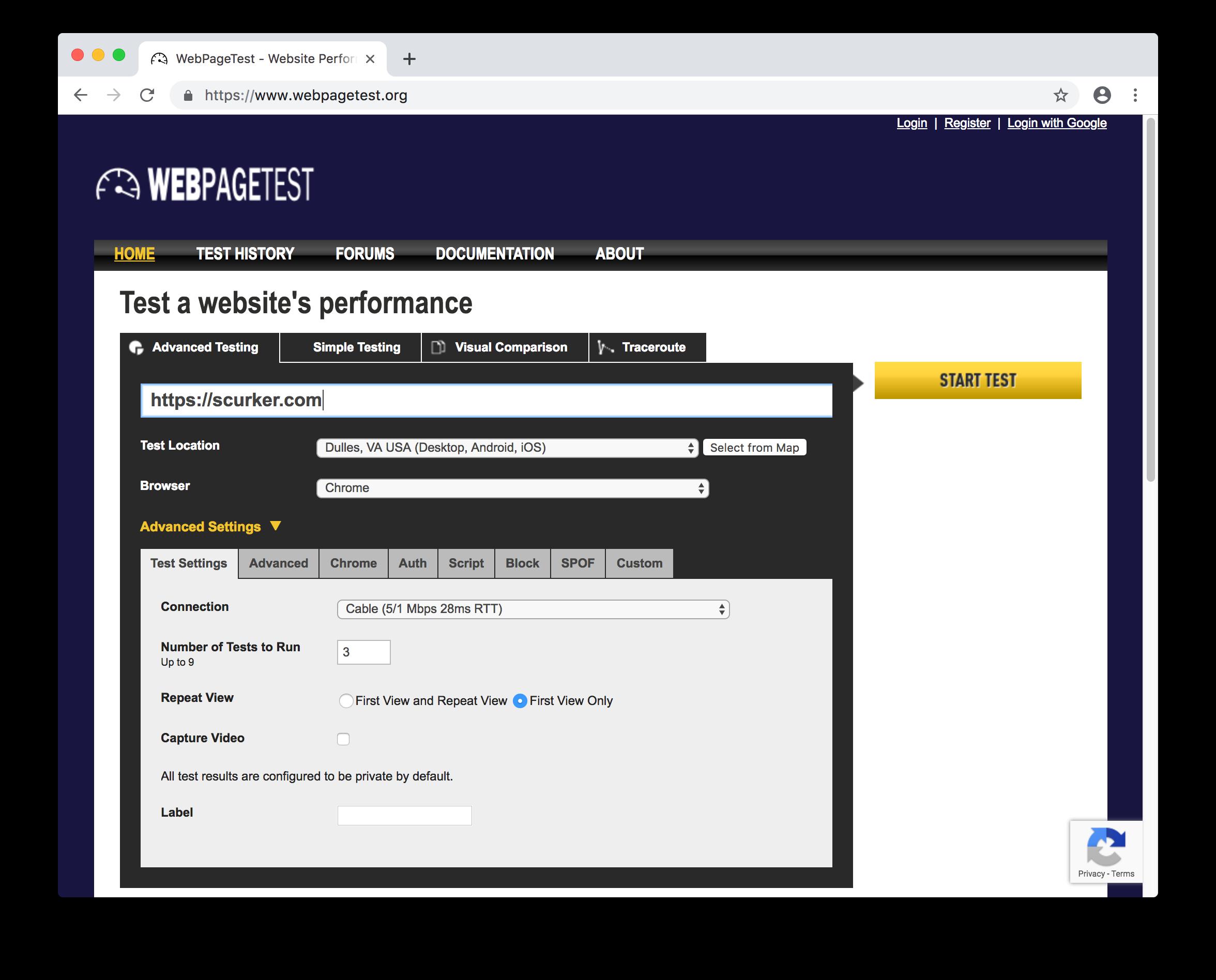 web page test site