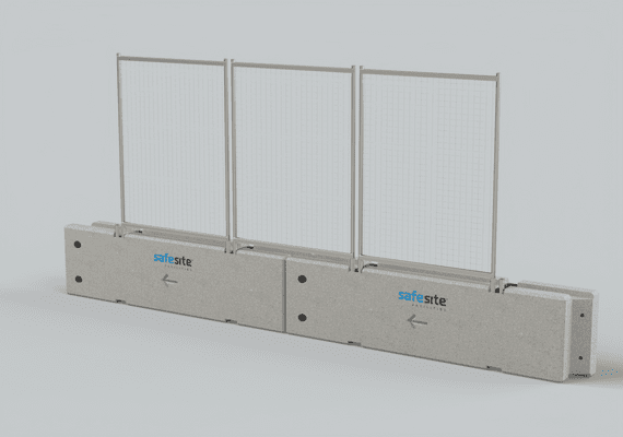 Concrete Barrier with Fencing