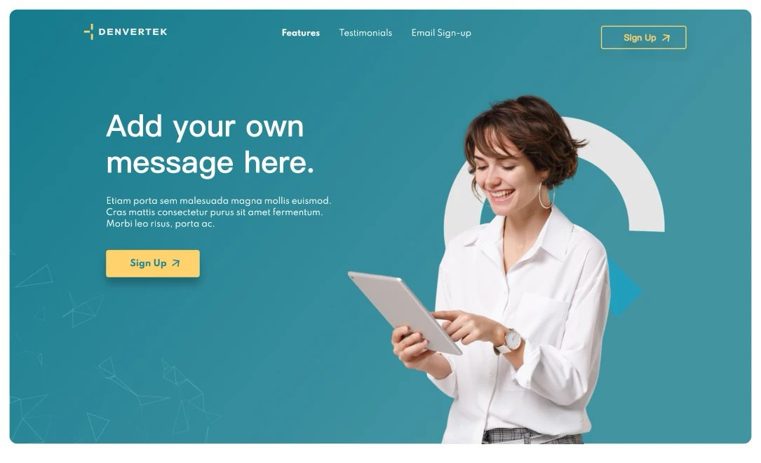 Screenshot of microsite template for Sales & Marketing