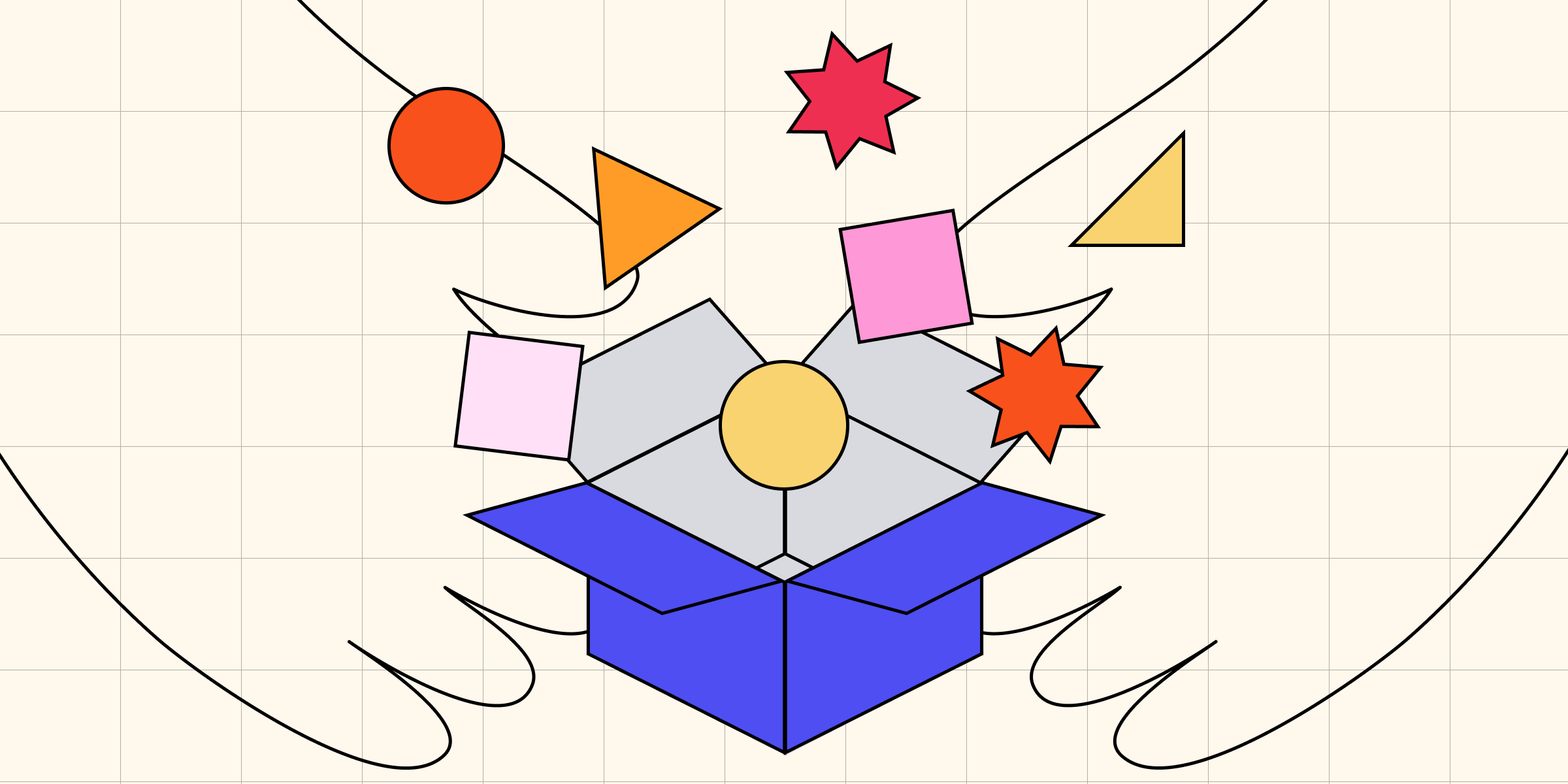 Two hands holding a blue box with various colored squares, triangles, and stars floating into the box.