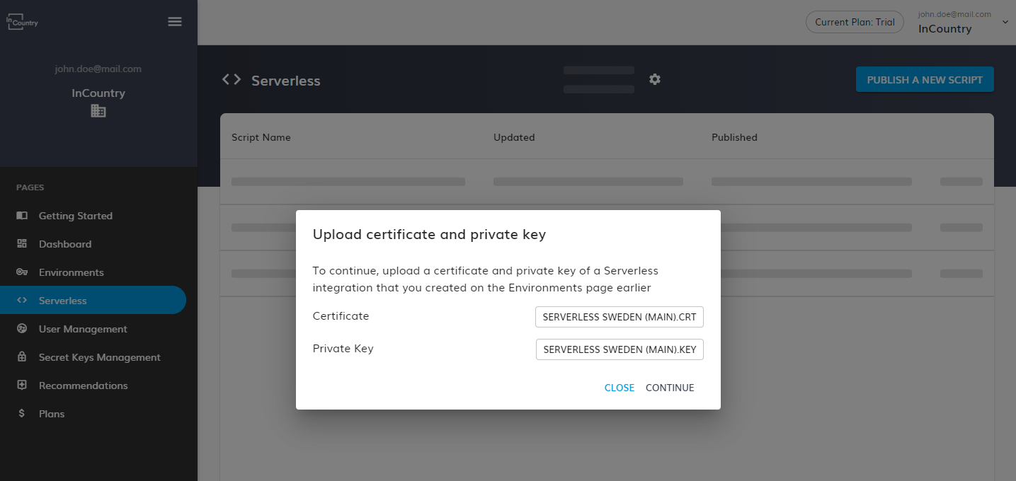 Upload the certificate and the private key