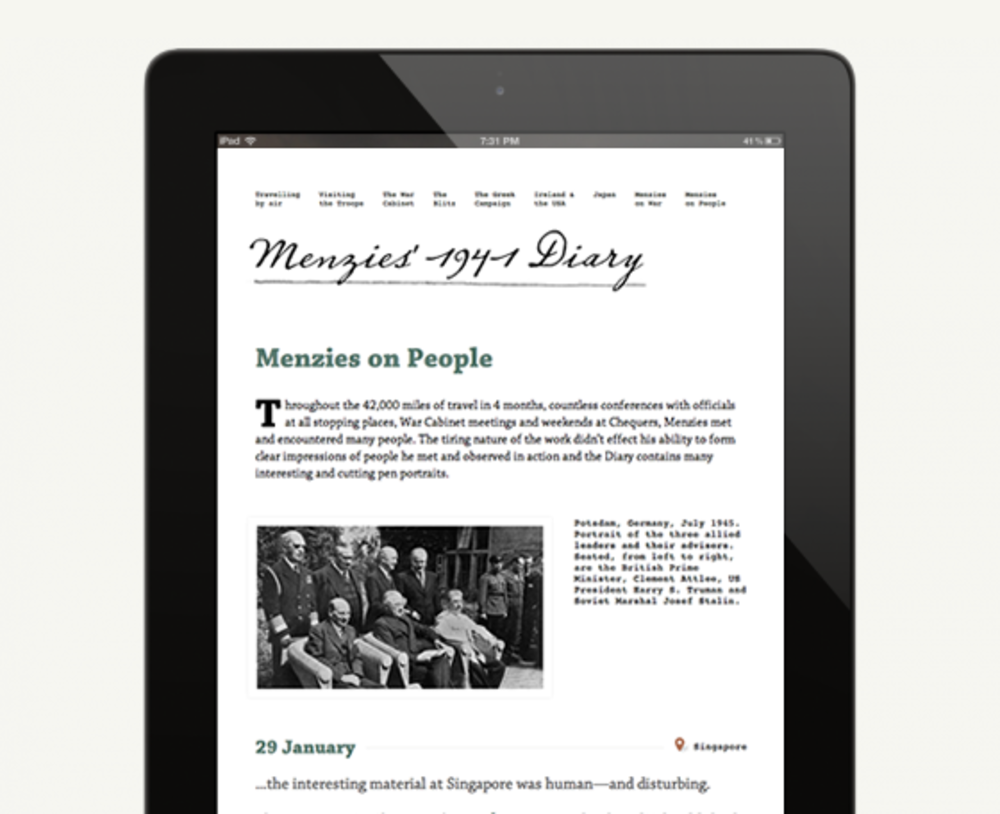 Menzies Diary website shown at iPad dimensions