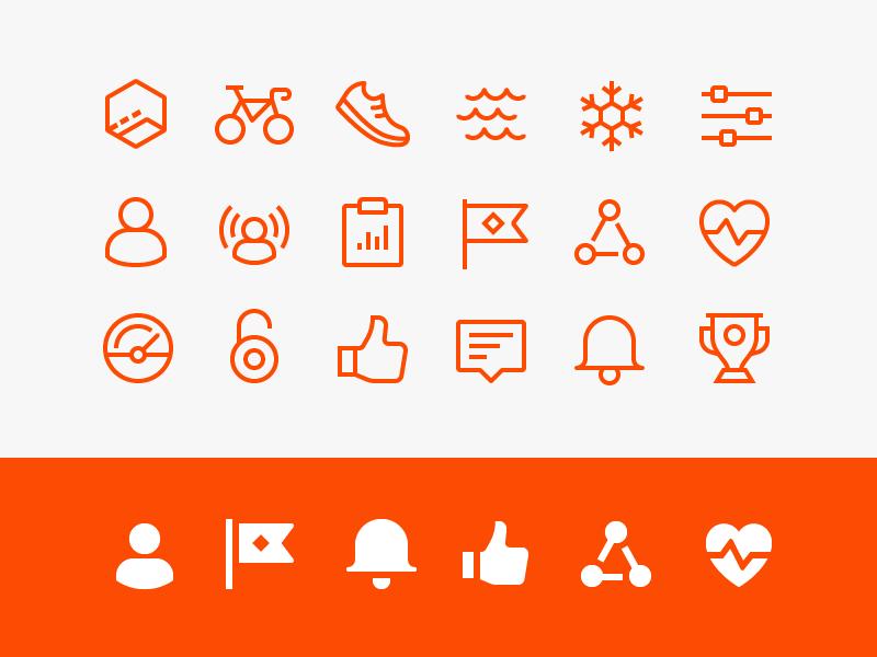Strava app icons