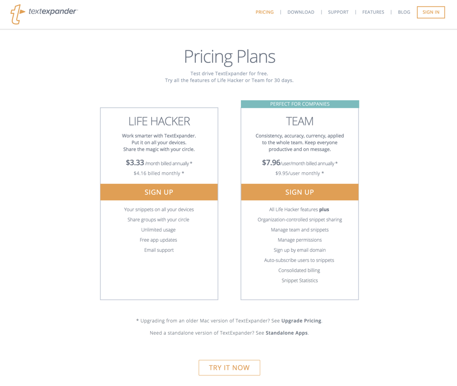 TextExpander pricing