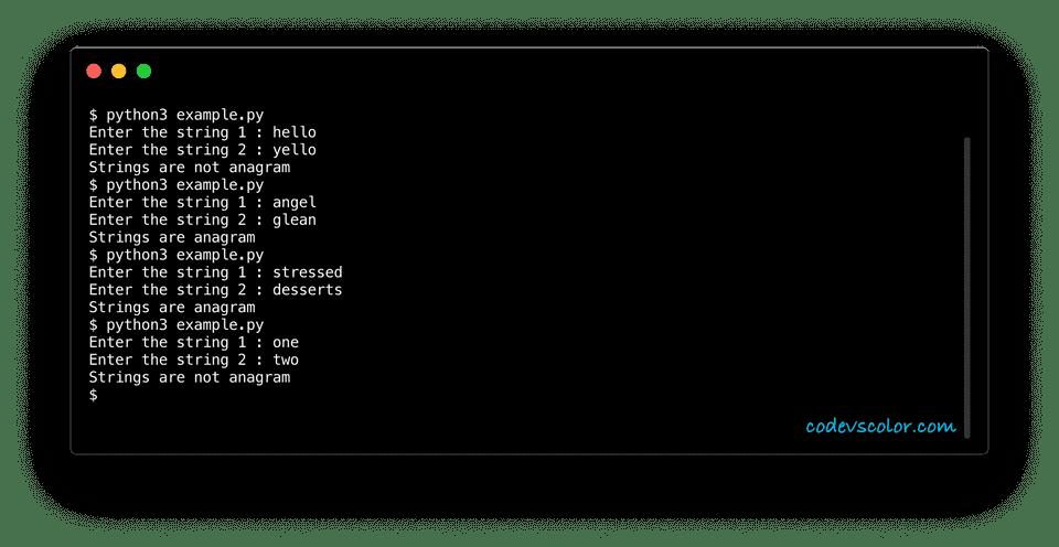 python example check string anagram