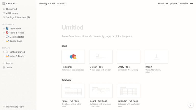 Screenshot of New page in Notion
