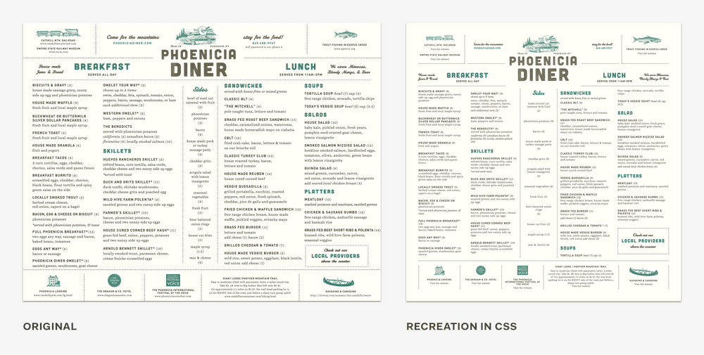 Print menu vs. recreation in CSS