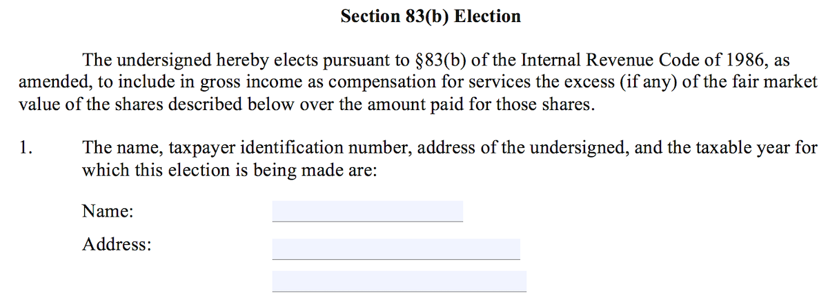 Section 83(b) Election Form