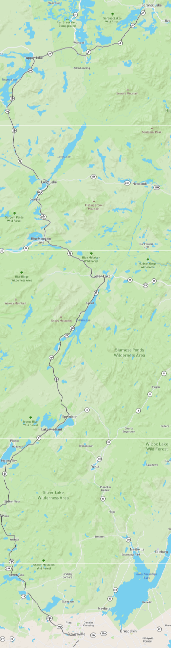 What does the route from Mysteries on Main Street in Johnstown, NY to The Book Nook in Saranac Lake, NY look like?