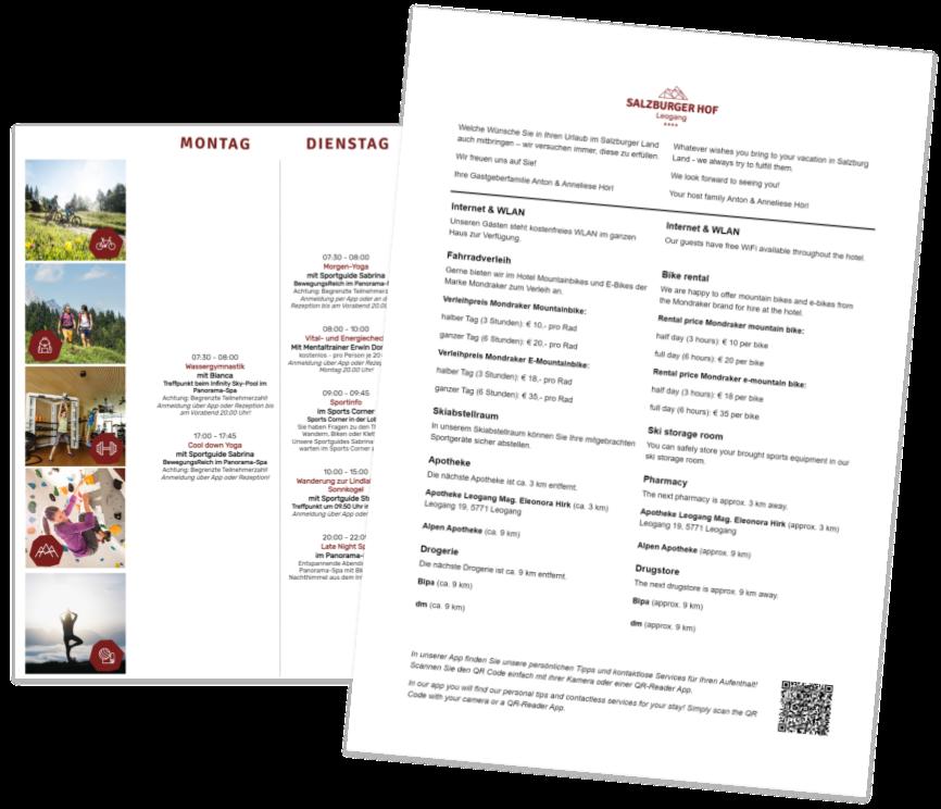 Druckdokumente aus der digitalen Gästemappe