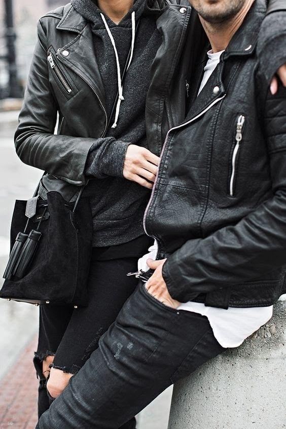 Veste en cuir homme et femme parées de fermetures éclairs