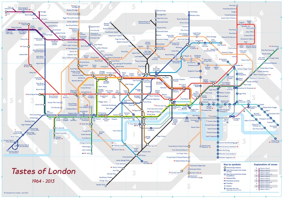 Image showing the complete London tube map, with stops marked by tastes.