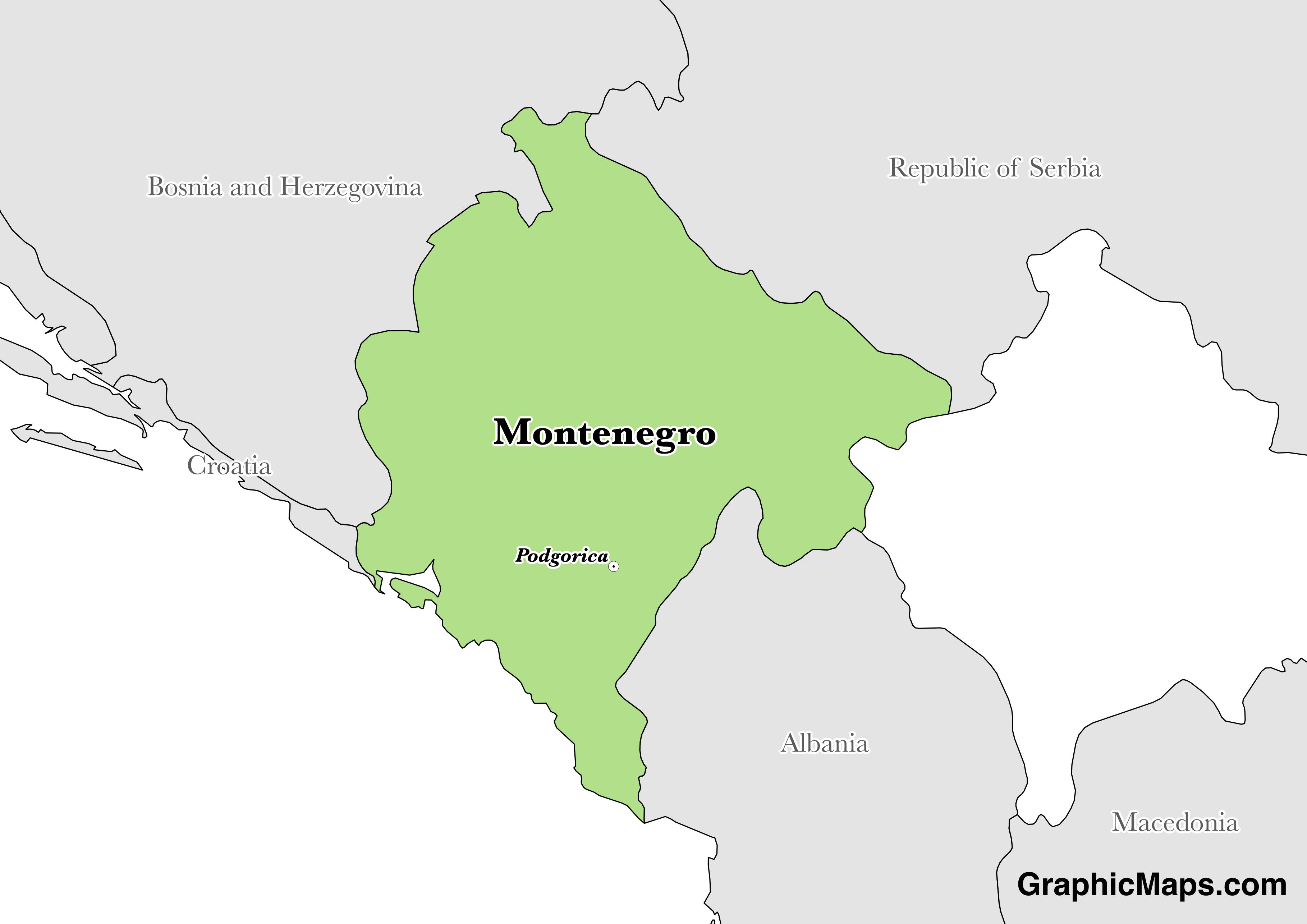 Map showing the location of Montenegro