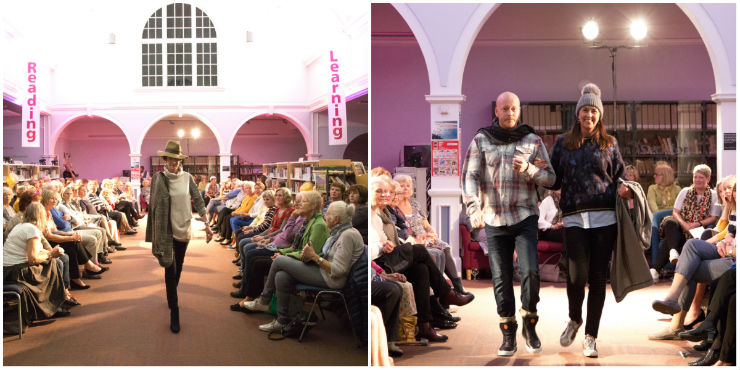 Models coming down the runway in clothes from Parkside Shops at the Friends of Woodbridge Library's Fashion Show in October 2018