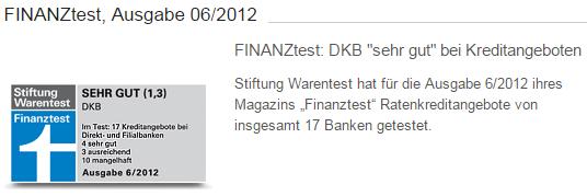 Bildschirmfoto: Die DKB wurde durch die Stiftung Warentest bewertet