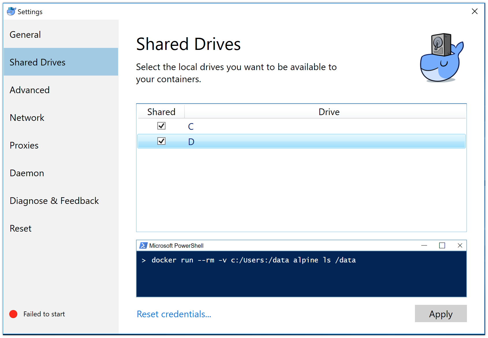 Share your Windows drives with Docker Desktop