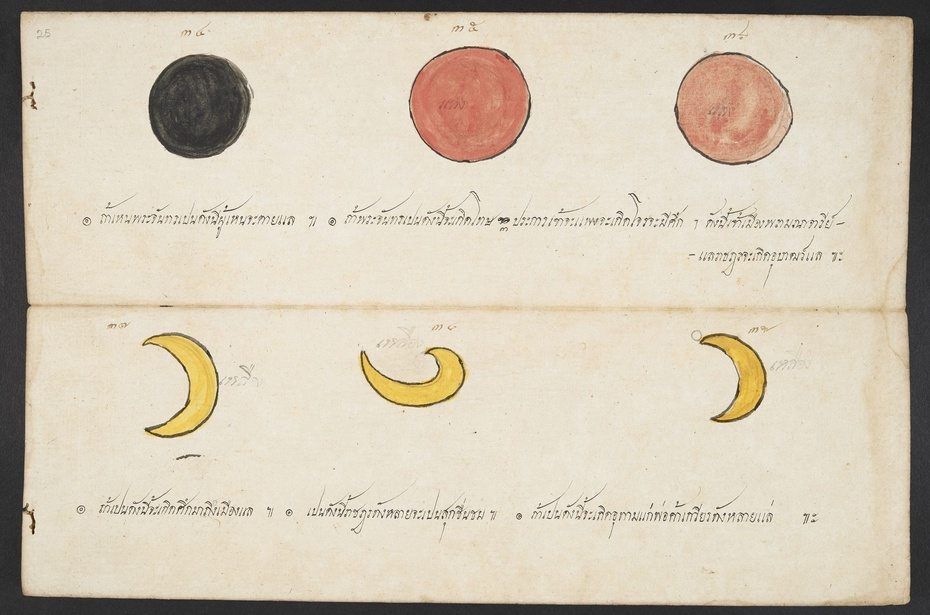 Illustrations of possible appearances of the moon. Tamra phichai songkhram (Divination manual for the prediction of wars and conflicts). British Library, Or.15760,f .25
