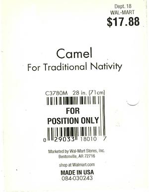 General Foam Plastics Camel Walmart Tag #083-030243, C3780M preview