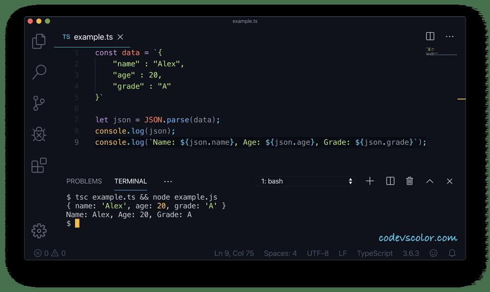 TypeScript json parse example