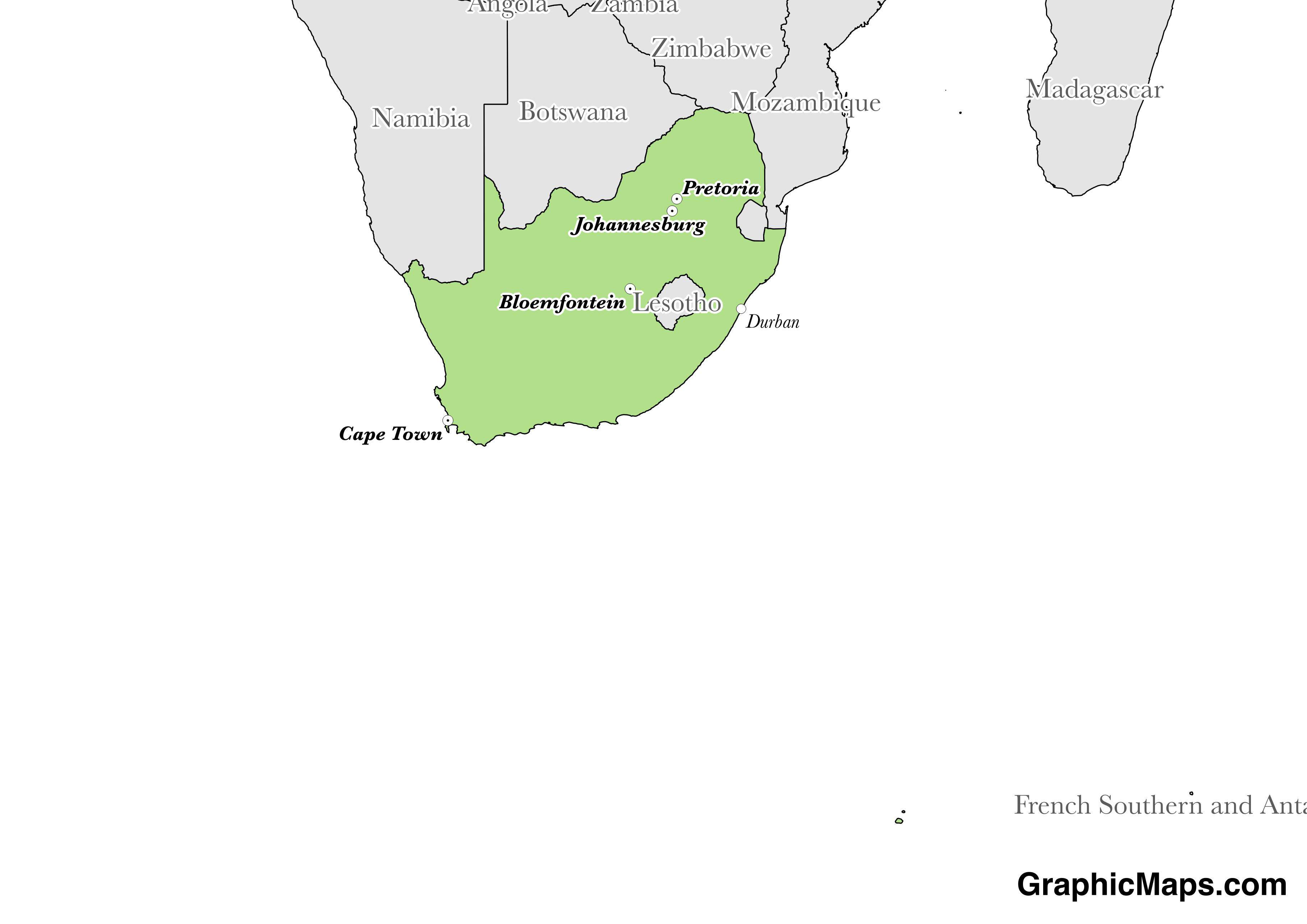 Map showing the location of South Africa