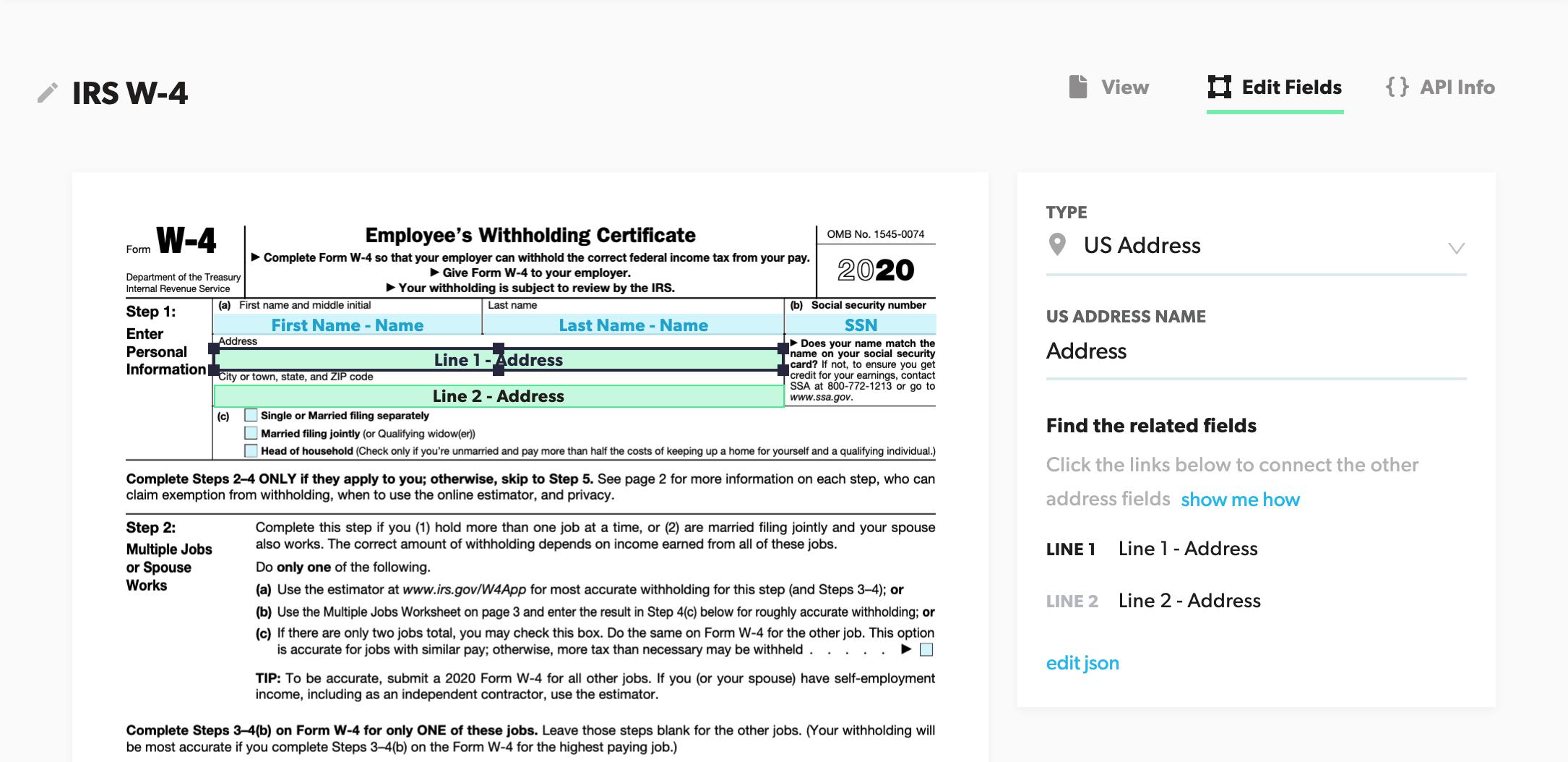 Editing a PDF Template