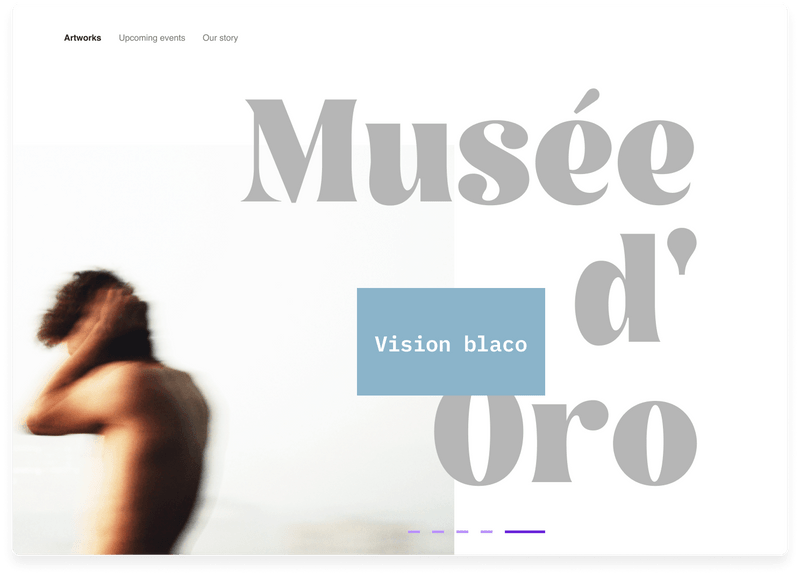Musée d' Oro page website landing page