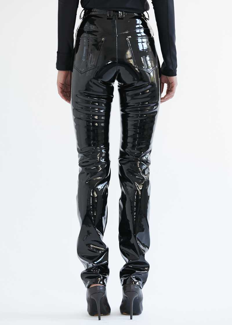 "Frey Vinyl Trousers Black. GmbH SS20 ""20 20 Vision"" collection."
