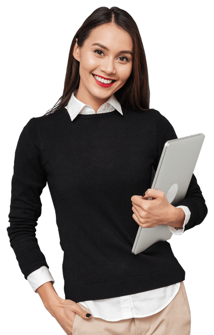 Smiling woman holding a laptop.