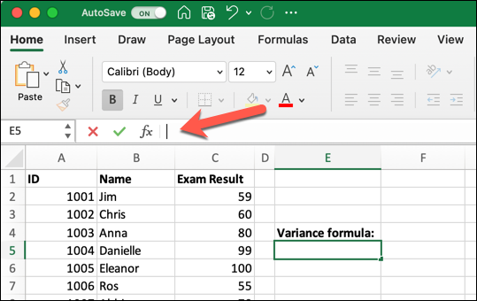 An Excel spreadsheet containing data for student ID, student name, and exam result. A red arrow is pointing to the formula bar, and an empty cell has been selected