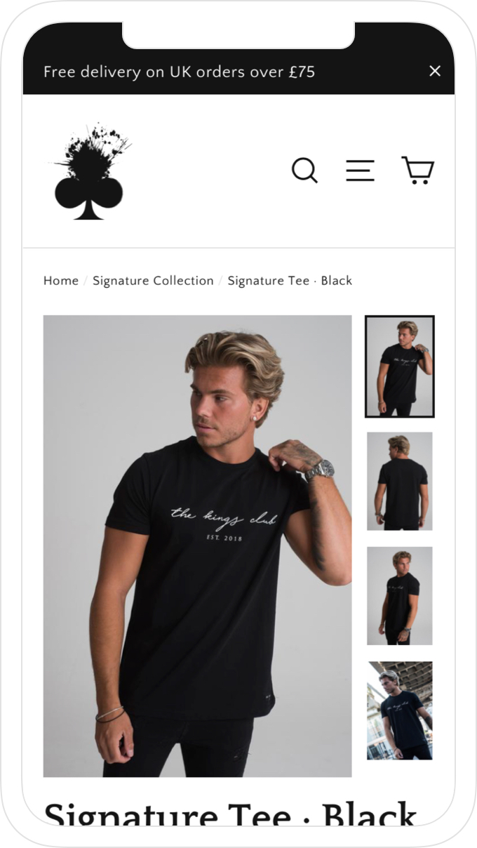 Mobile product page, website and online store design for men's clothing brand, The Kings Club