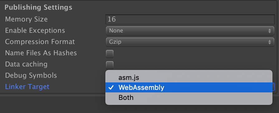 Unity Editor switching from asm.js to WebAssembly